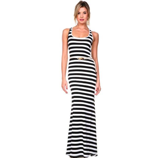 maxi jurk zwart wit gestreept