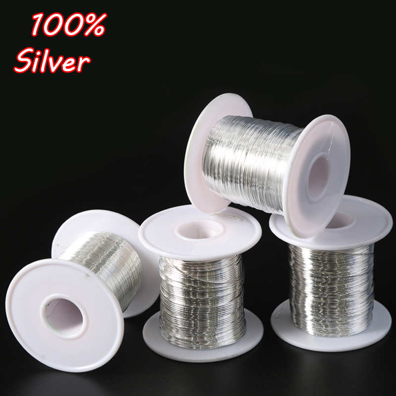 1 Meter 925 Sterling Silver Wire in Jewelry Findings & Component 0.3/0.4/0.5/0.6/0.7/0.8/0.9/1/1.2mm DIY Accessories Wholesale