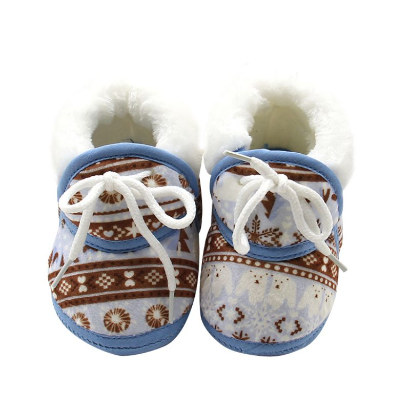 Newborn Baby First Walkers Winter Soft Soled Cotton Fabric Toddler Keep Warm Print Shoes