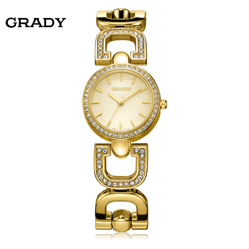 Grady Brand Luxury Crystal Gold pulksteņi Sieviešu modes aproce kvarca pulksteņa šoks ūdensnecaurlaidīgs bezmaksas piegāde reloj mujer