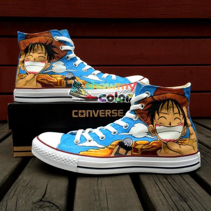 Prix pour One Piece Hommes Femmes Converse Chuck Taylor Anime Chaussures Luffy Conception Peinte à la main Top Bleu Toile Sneakers Cosplay Cadeaux