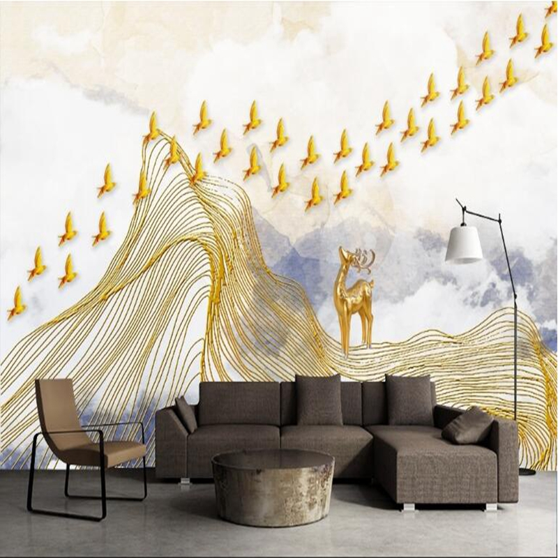 Gold Wallpaper New Chinese Abstract Mood Landscape Picture Wall Paper 3d Free Wall Papers Living Room Sofa Backdrop Restuarant