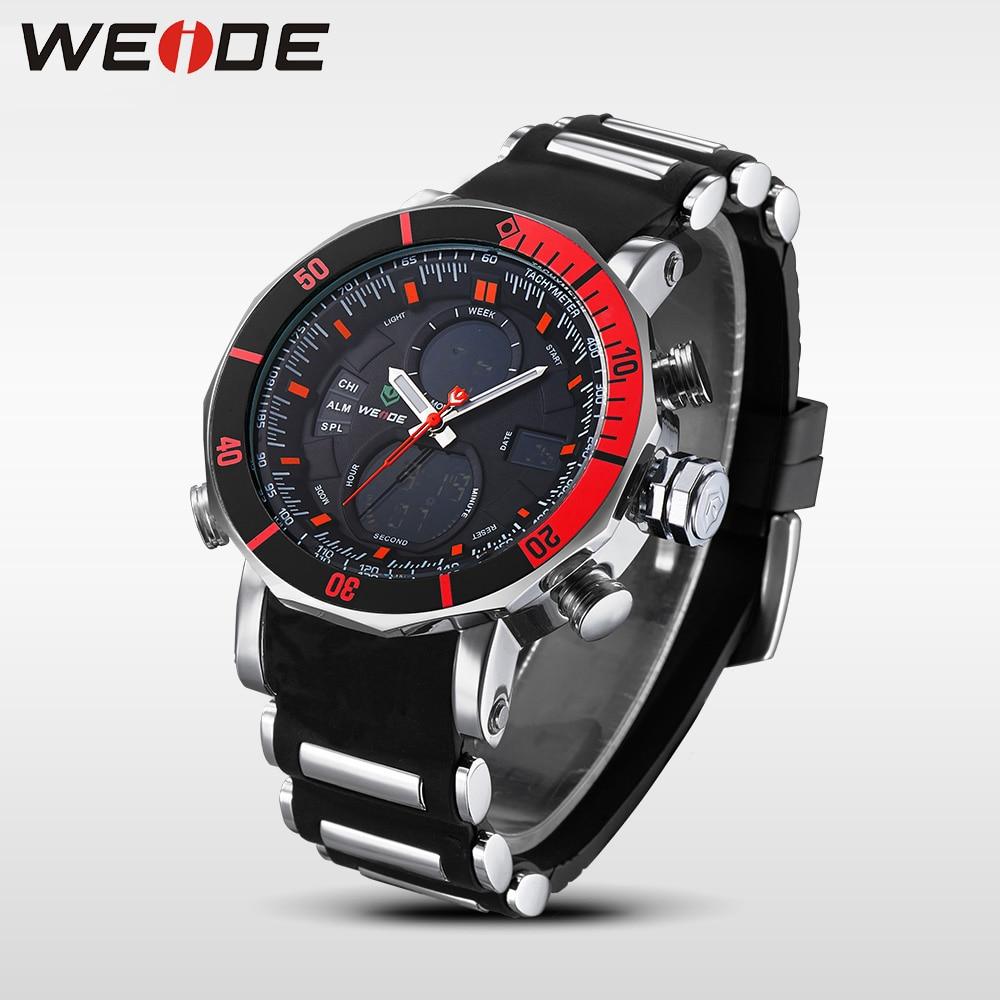 WEIDE Unique Red Black Mens Digital Dual Time Watch Acero inoxidable - Relojes para hombres - foto 5