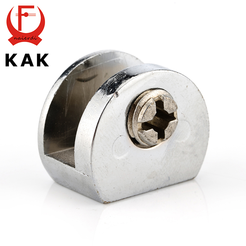 KAK Half Round Glass Clamps Zinc Alloy Shelves Support Corner Brackets Clips For 8mm Thick Furniture Hardware