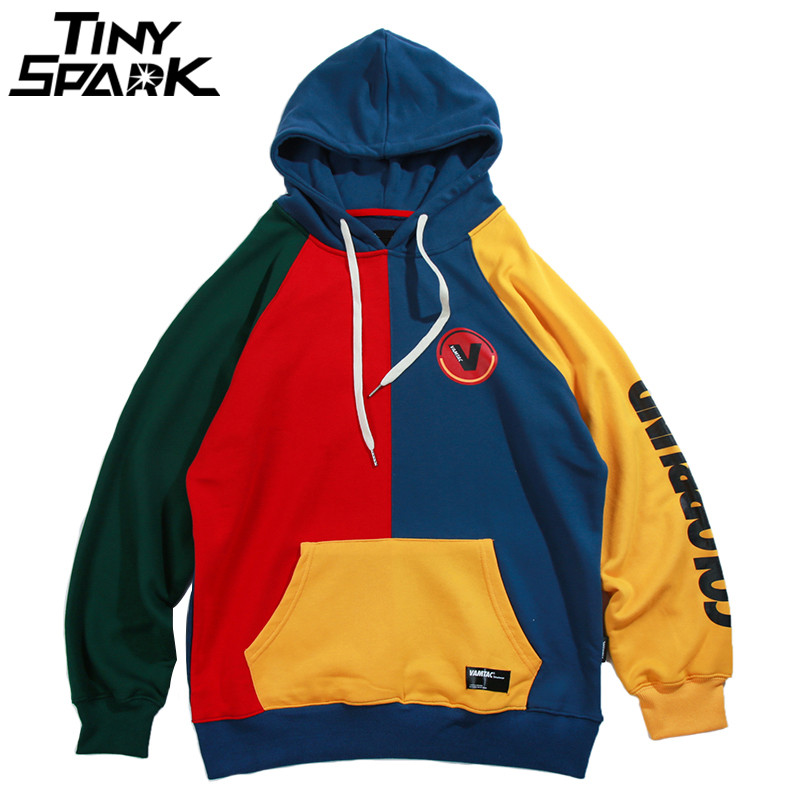 Hip Hop Hoodie Sweatshirt Mens Color Block Patchwork Harajuku Hoodie Streetwear Casual HipHop Pullover Oversized Autumn 2019 New