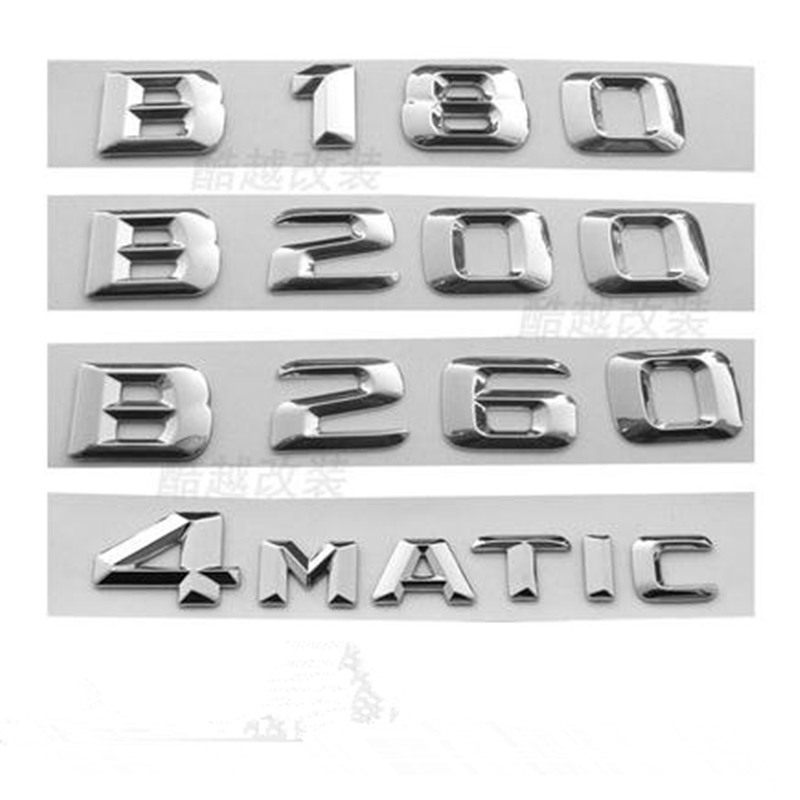 3D Abs Car Rear Trunk Emblem Badge 3D Chrome Letters Logo for Mercedes Benz B180 B200 B260 Tail Sticker mayitr chrome abs 4matic 4 matic logo emblem car rear trunk lid letters badge sticker decal for mercedes benz car styling