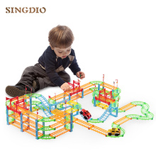 DIY Train Track Toy Model Racing Car Rail Electric Road Construction Sets Slot Railway Transport magic flexible track toys new magic track flexible rail racing car model railway road magical truck pull back tracks cars set diy toys for children gifts