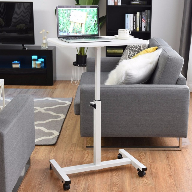 Giantex Adjule Height Rolling Mobile Laptop Desk Cart Stand Sofa Tray Commercial Furniture Hw57067