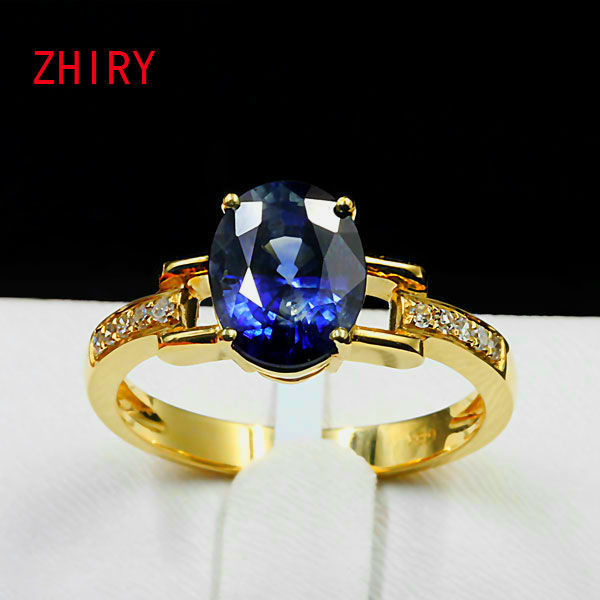 Women Blue Sapphire Ring 100% Natural gemstone rings Genuine 18K rose gold