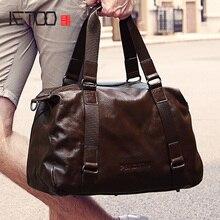 AETOO Men's travel bags, leather handheld shoulder crossbody