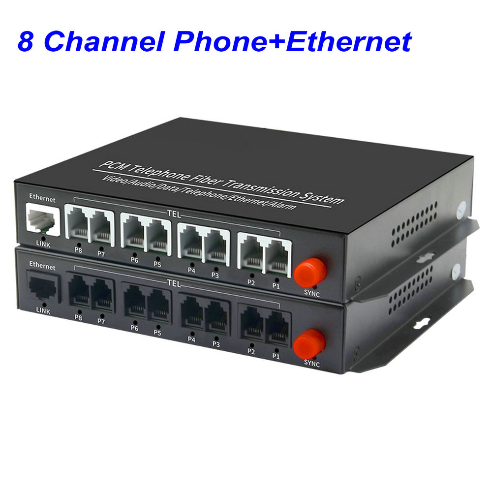1 Pair 8 Channel -PCM Voice Tel Over Fiber Optic Multiplexer Extender With 100M Ethernet ,Support Caller ID And Fax Function