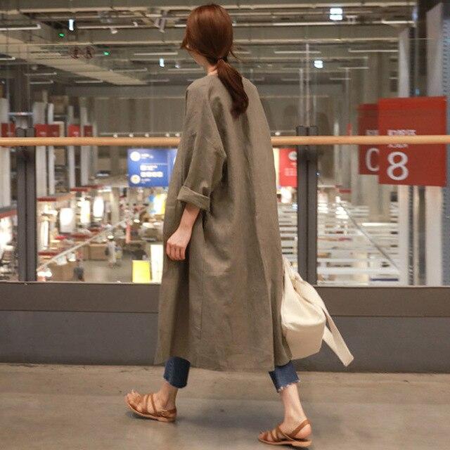 Orta Uzun Pamuk Ve Keten güneş koruma giyimi Kadın Sonbahar Büyük Boy Gevşek Ince Diz Hırka Trençkot MZ2923