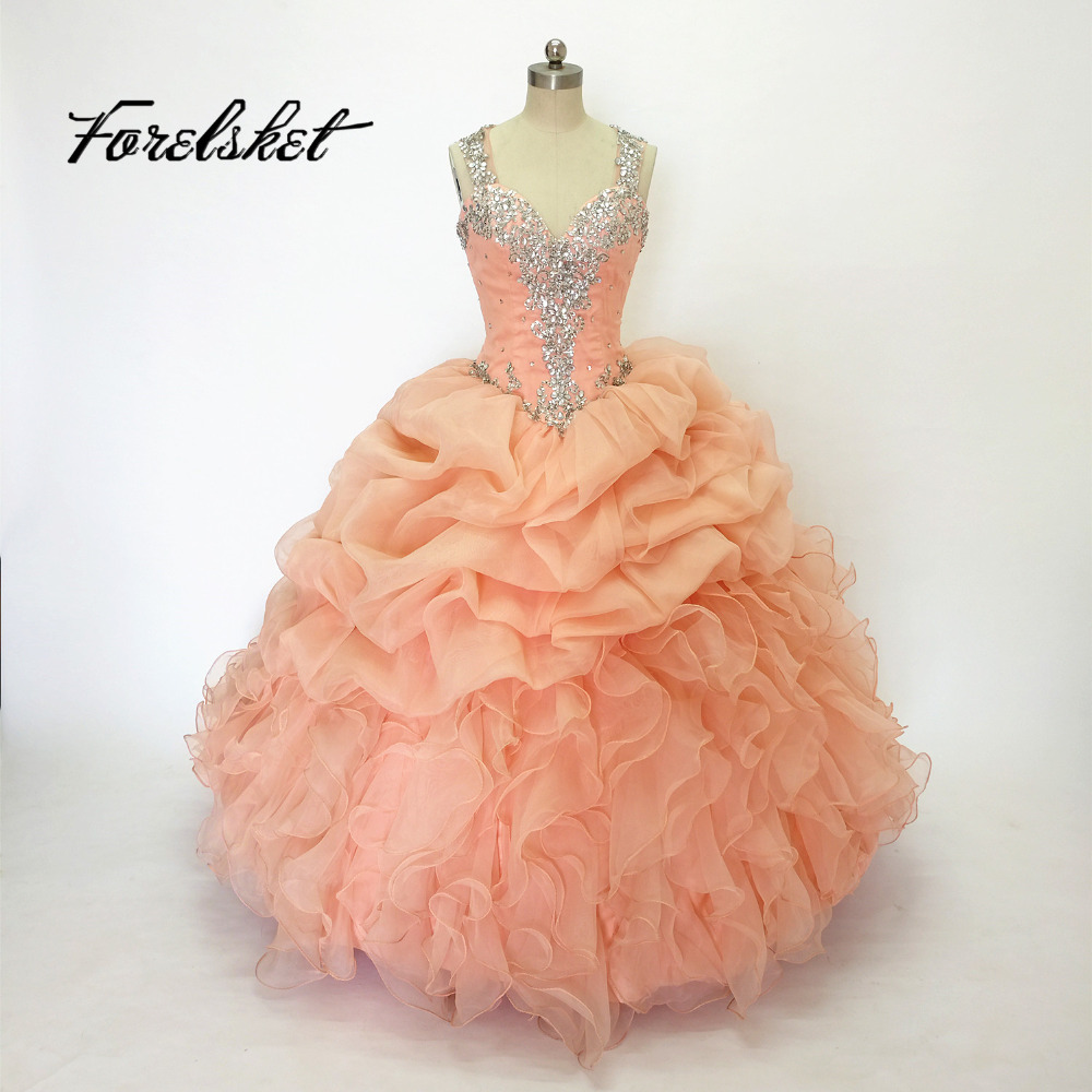 Coral Peach Quinceanera Dresses Ball Gown 2016 Sweetheart Ruched Bodice Free Shipping Long Ruched Beaded Pleated Dress 15 Years