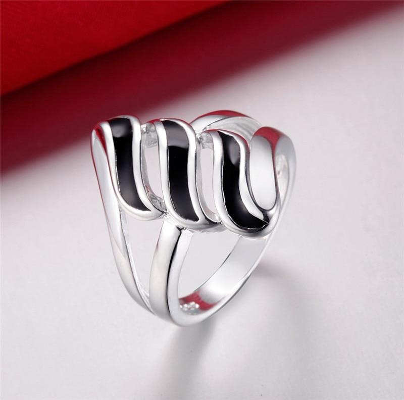 925 Argent Rhodium Plaqué Lunette Eternity Blanc Topaz empilable RING Sz 5-10