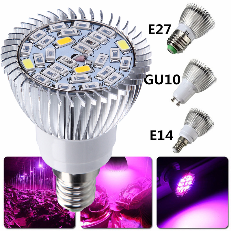 1pcs Full Spectrum Grow Lamp E27 LED Grow Light GU10 E14 LED Growing Lamp For Hydroponics Flower Plants Vegetables Growing Light