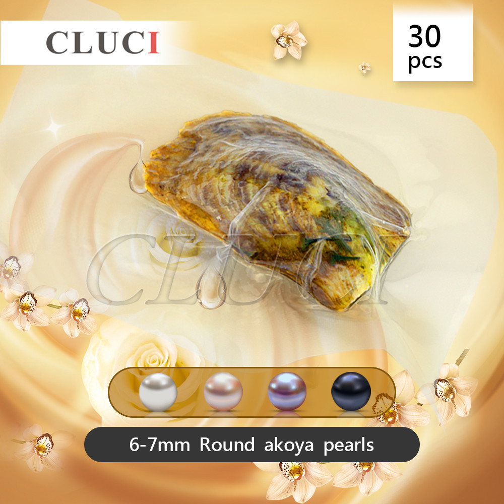 CLUCI Vacuum-Packed 6-7mm Round Akoya Pearls Oyster Shell White Pink Lavender Black Pearl in Oyster Gift, 30pcs AAA charms pearl 100 pcs interesting gift 6 8mm round akoya pearl in oyster with vacuum packed aaa grade natural saltwater pearls oysters