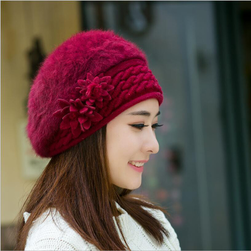 Hats Beret-Hat Rabbit-Fur-Cap Knitted Elegant Female Winter Fashion Women Ladies Autumn