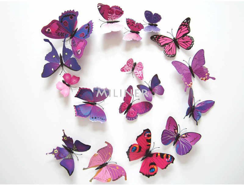 12 unids/lote mariposa calcomanías 3D pegatinas De pared casa decoración cartel para habitaciones De niños adhesivo para decoración De la pared De Parede
