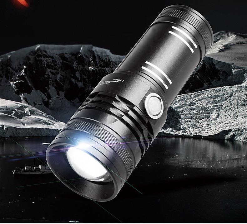 CREE XML LED High Powerful Fishing Zoom Flashlight 8000Lumens Aluminum Torch Flash Lamp With 4 Lights(Blue/White/Yellow/Purple) new 1600lm cree led flashlight zoom lamp