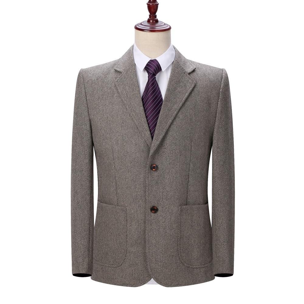 5018b9296f170 Detail Feedback Questions about WAEOLSA Mature Mens Blazer Woollen Blends Jacket  Suits Man Elegant Wool Blazers Male Gray Camel Outfits Outerwear Spring ...
