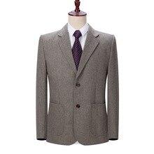 WAEOLSA Mature Mens Blazer Woollen Blends Jacket Suits Man Elegant Wool Blazers Male Gray Camel Outfits Outerwear Spring Autumn