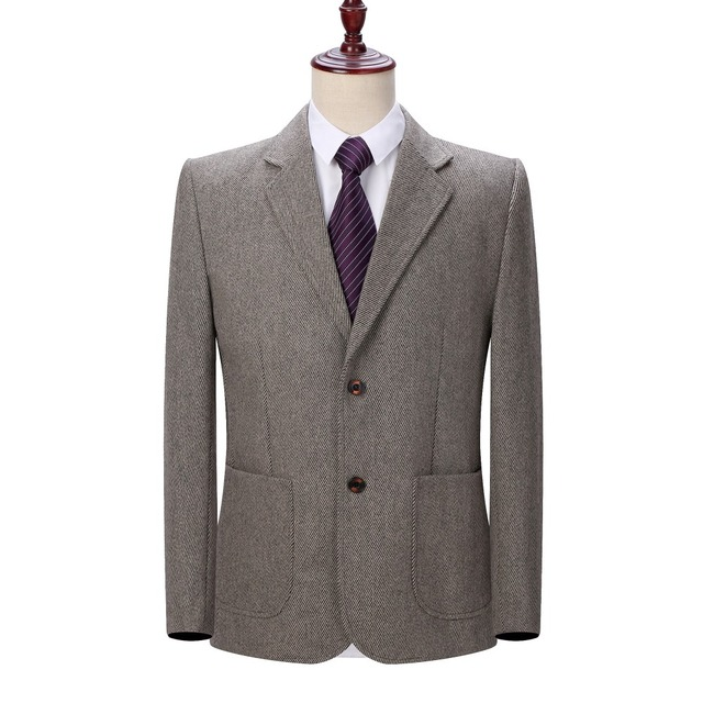 WAEOLSA Mature Mens Blazer Woollen Blends Jacket Suits Man Elegant Wool Blazers Male Gray Camel Outfits Outerwear Spring Autumn