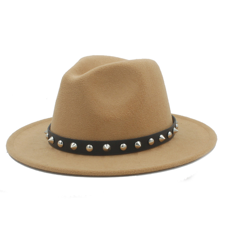 0f3139138 US $8.82 18% OFF|Retro Wool Women Men Outback Fedora Hat Winer Autumn Wide  Brim Jazz Church Godfather Cap With Punk Rivet Ribbon Size 56 58CM S18-in  ...