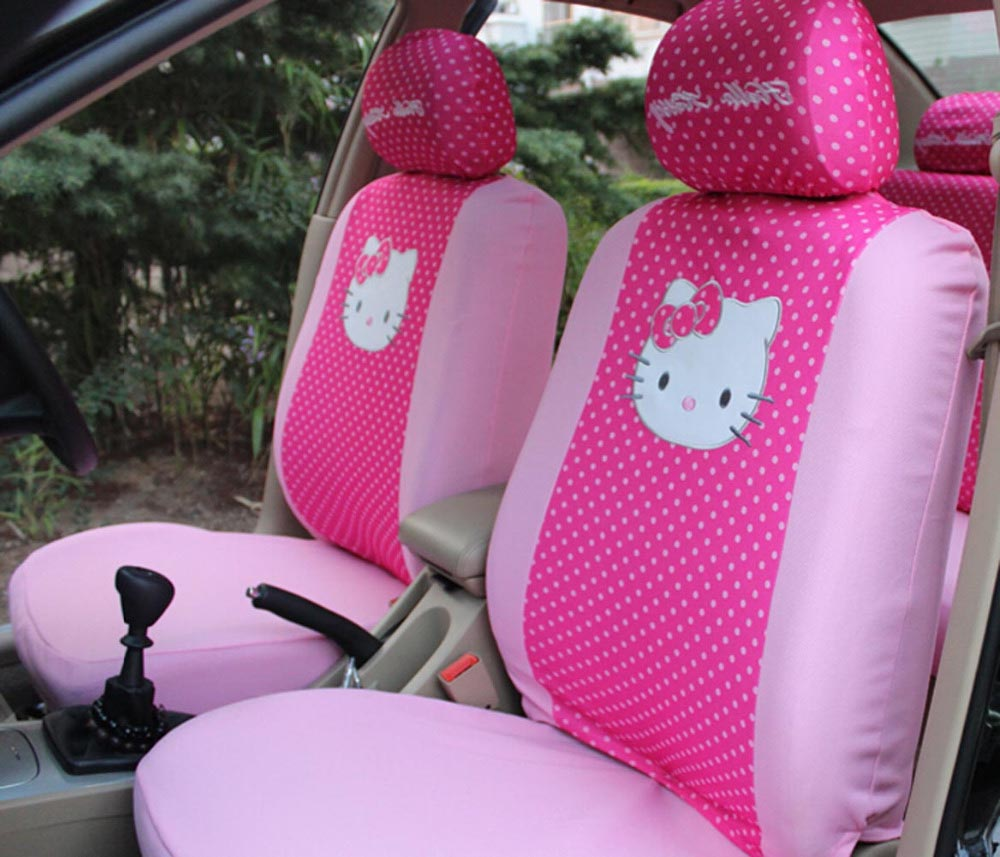 10pcs universal hello kitty car seat covers red and pink bowknot car seat protector interior. Black Bedroom Furniture Sets. Home Design Ideas