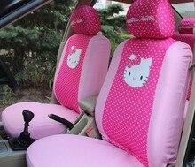 10 PCS Universal Bonjour Kitty voiture-styling Bande Dessinée Siège De Voiture Universel Couvre Rose Rouge 2 couleurs De Voiture intérieur Auto accessoires