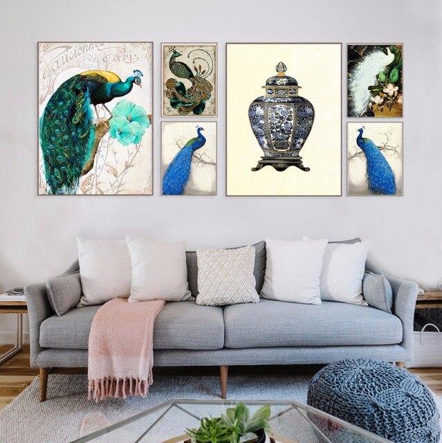 Pauw Canvas Schilderij Home Decor Moderne Animal Muur Schilderkunst