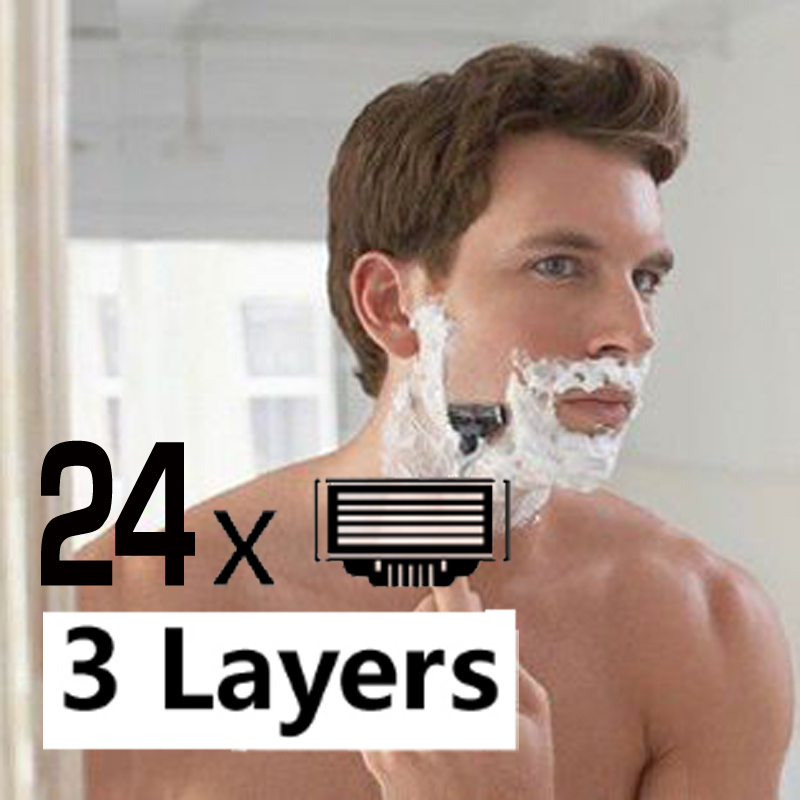 24Pcs Men's Razor Blades Face care Manual 3 Layers Safety bls