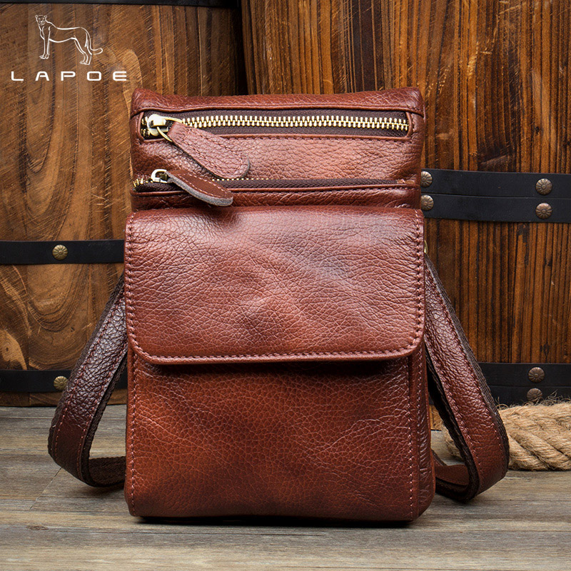 LAPOE Genuine Leather Bag Men Bags Leather Belt Waist Pack Men Messenger Bags Male Phone Small Flap Male Shoulder Crossbody Bag bullcaptain messenger bag leather men bag genuine leather waist pack small shoulder crossbody bags fashion ipad belt chest bags