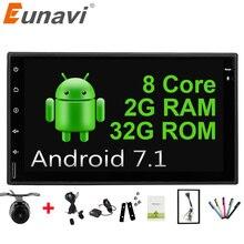 """Eunavi Universal 7 """"Octa core 2 din Android 7.1 Radio de Coche Doble 2Din 1024*600 autoradio Navegación GPS BT car Stereo pc 2G RAM"""