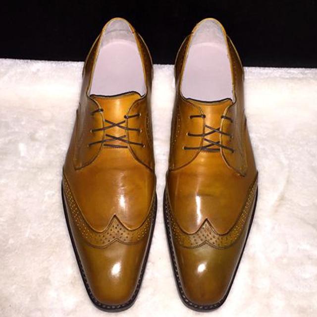 Luxury personalizzata mens yellow goodyear welt scarpe da sera elegante  navy verde scarpe da sposa sposi fbfd0a2aec8