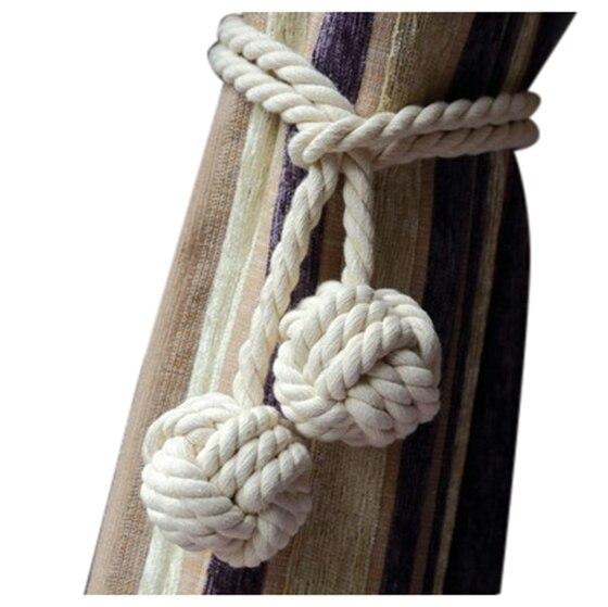Feine Hand Gebunden Vorhang Clip Gardinen Quasten Vorhang Raffhalter/Quaste Fenster Baumwolle Seil Krawatte Ball Zurück Zubehör 132cm (creamy