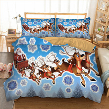 3D christmas Bedding Set elk duvet cover pillowcase twin full queen king size blue bedclothes 3pcs home textiles
