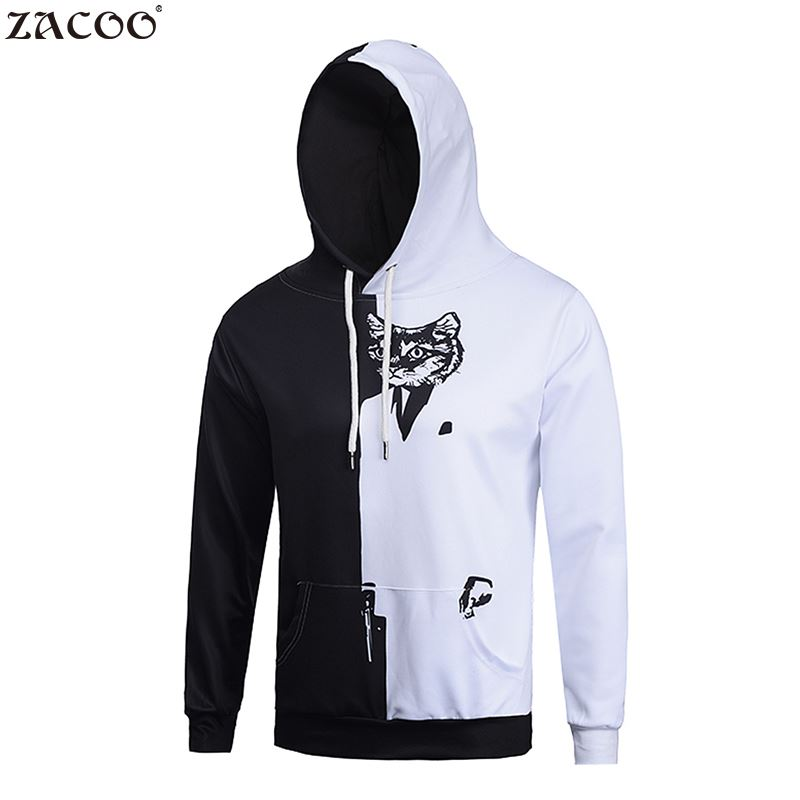 ZACOO Animal Hoody 2017 Men 3D Cat Printed Long Sleeve Casual Hooded Pullover Sweatshirt Black&White Lovely Cat