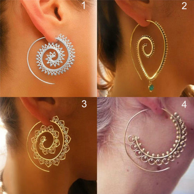 3 Style Fashion Women Lady Circles Round Spiral Tribal Earrings Ear Gold Silver Metal Simple