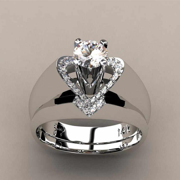 Luxo feminino zircão conjunto de anel de pedra estilo único cristal prata cor do ouro anel de noiva promessa anéis de noivado para mulher