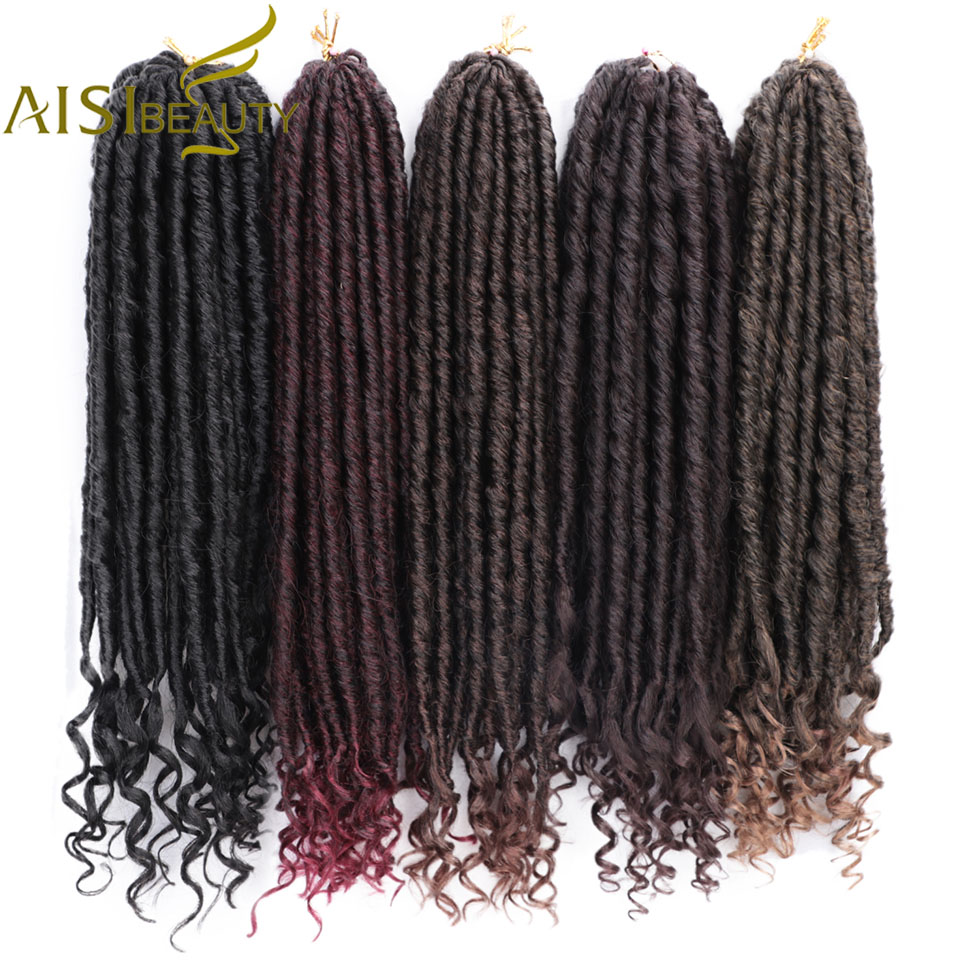 AISI BEAUTY 16 20 Inch Faux Locs Crochet Braids Soft Natural Synthetic Crochet Hair Extension Goddess Locks Ombre Braiding Hair