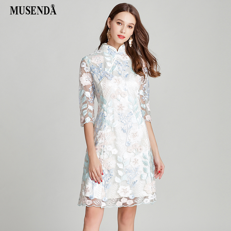 MUSENDA Plus Size Women Lace Embroidery Tunic Cheongsam Dress New 2018 Summer Sundress Female Ladies Vintage Party Dresses 4XL