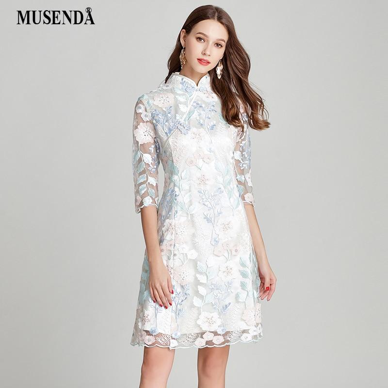 MUSENDA Plus Size Women Lace Embroidery Tunic Cheongsam Dress New 2018 Summer Sundress Female Ladies Vintage Party Dresses 4XL