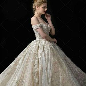 Image 3 - חתונת שמלת 2020 גברת Win את Elelgant קצר שרוול סקסי V צוואר נסיכת יוקרה תחרה רקמה בלינג בלינג חתונה שמלות F