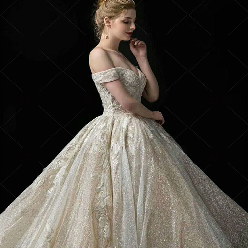 Image 3 - Wedding Dress 2019 Mrs Win The Elelgant Short Sleeve Sexy V neck Princess Luxury Lace Embroidery Bling Bling Wedding Dresses F-in Wedding Dresses from Weddings & Events