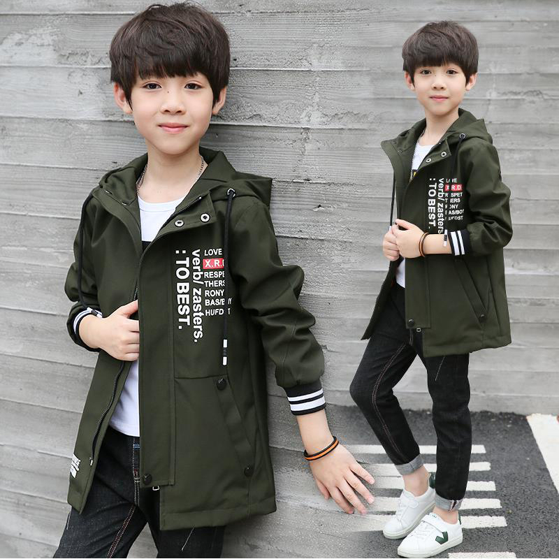 2017 new children's clothing boys fall and winter coat in the big boy Korean thickened tide boy long trench coat new autumn period and the star of a women s clothing stripe trench coat female suit shorts cultivate morality