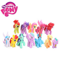 Pcs 3.5-5 12 cm My Little Pony Brinquedos Mini Ação PVC Figures Set Rainbow Dash Pônei Pico dragão Twilight Sparkle Boneca de Natal(China)