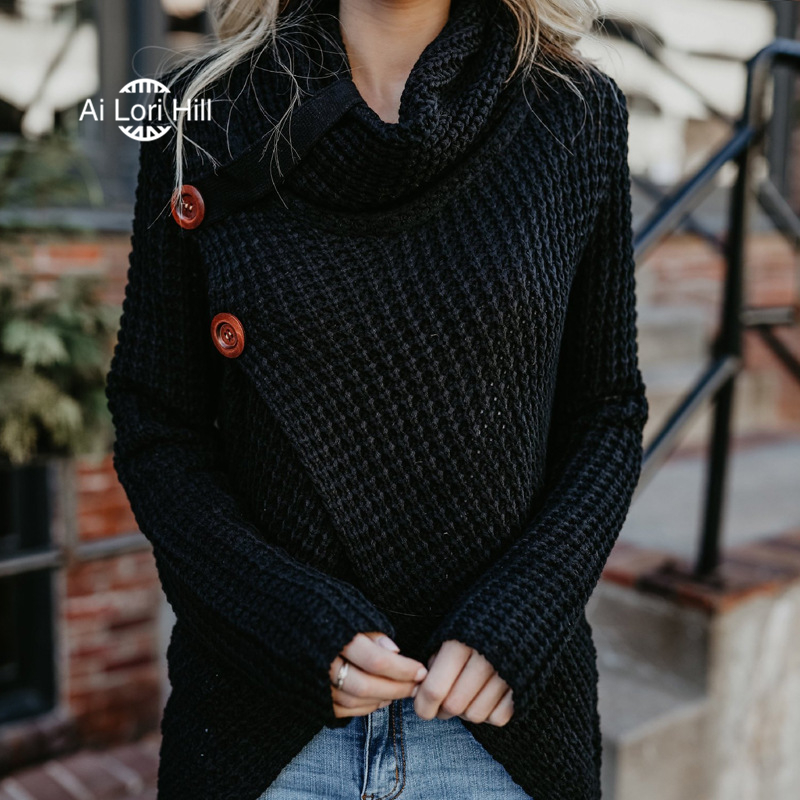 Sweater Women Cowl Neck Turtleneck Chunky Cable Knit Hooded Wrap Pullover  Sweater Coats with Button XS XL 2018 Hot Sale-in Pullovers from Women s  Clothing ... 25d308086