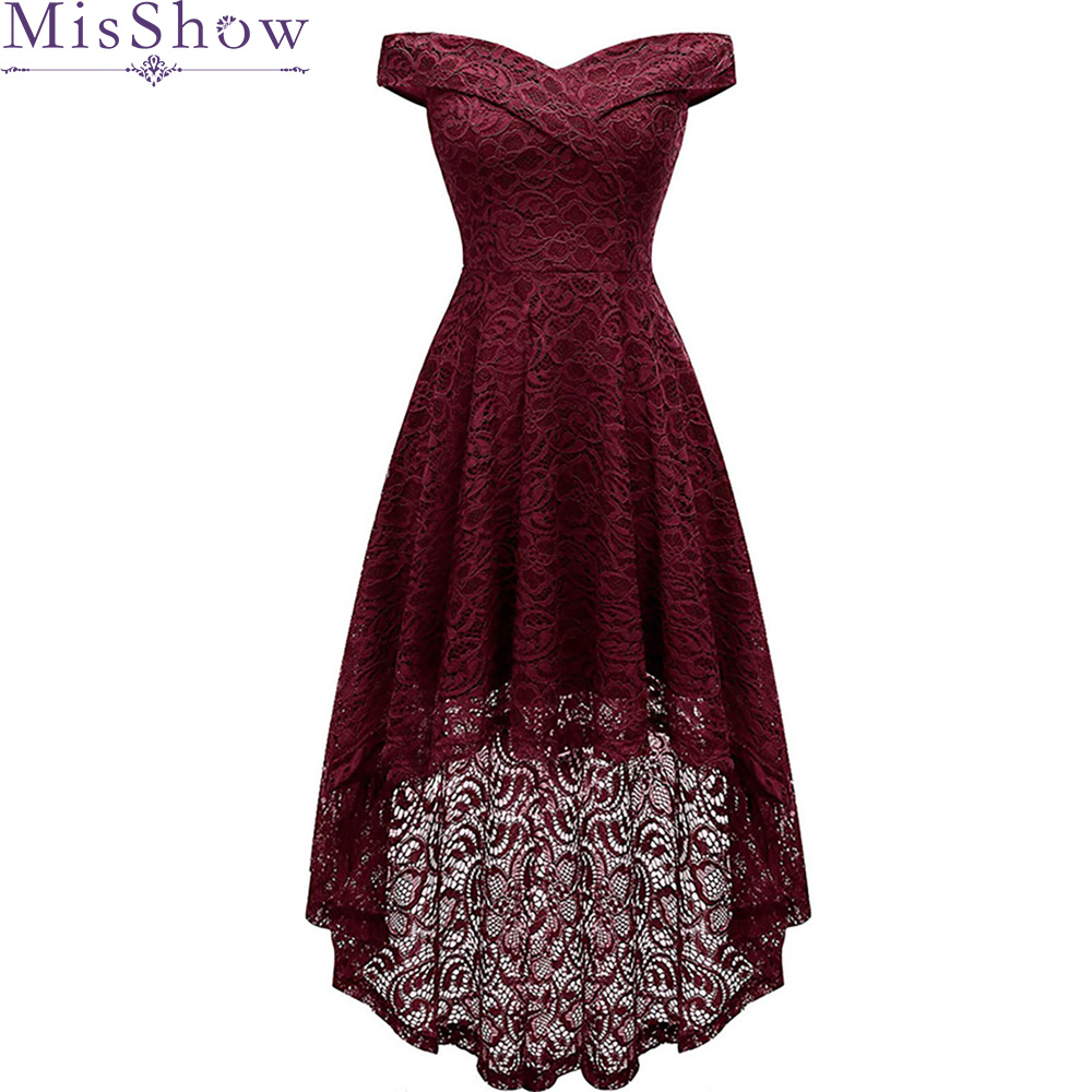 Elegant   Cocktail     Dresses   Sexy V-neck Burgundy Lace Short Front Long Back Wedding Plus Size Party   Cocktail     Dress   vestido coctel