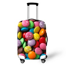 Купить с кэшбэком 3D Cake food pattern print travel luggage suitcase protective cover stretch waterproof portable luggage covers rain cover
