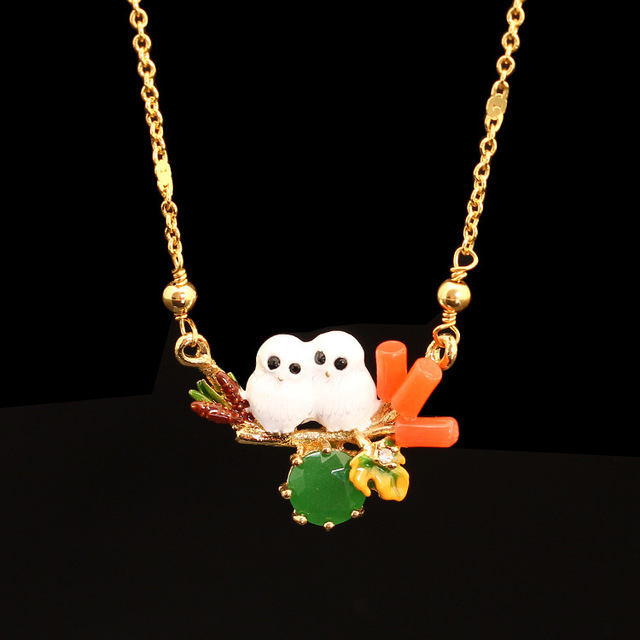 France LES Nereides 2016 New Pattern Enamel Snow Owl Baby Crystal Owl Necklace Clavicle Chain Gold Plated Jewelry Women Gift